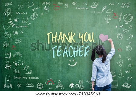 Thank You Teacher greeting card for World teacher's day concept with school student back view drawing doodle of of learning education graphic freehand illustration icon on green chalkboard
