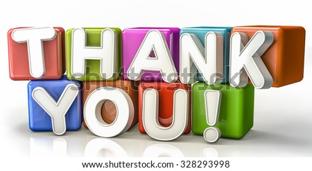 Thank you text concept on colorful cubes - stock photo