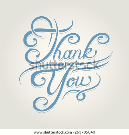 Thank you text written beautiful blue calligraphic font - stock photo