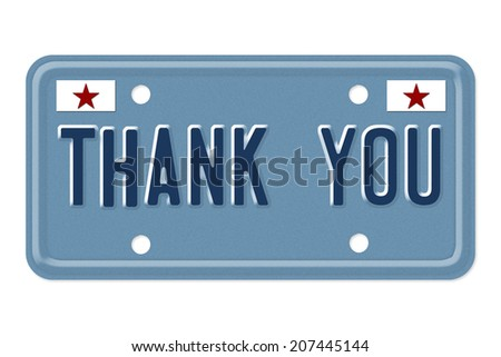 Thank You, The words Thank You on a blue license plate isolated on white