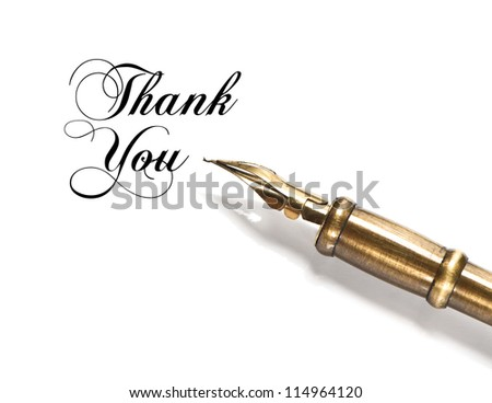 Thank You. vintage ink pen isolated on white background - stock photo