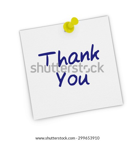 Thank You White Sticky Note Pinned to white background - stock photo