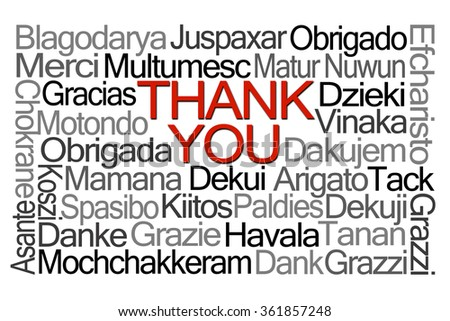 Thank You Word Cloud in Different Languages on White Background - stock photo