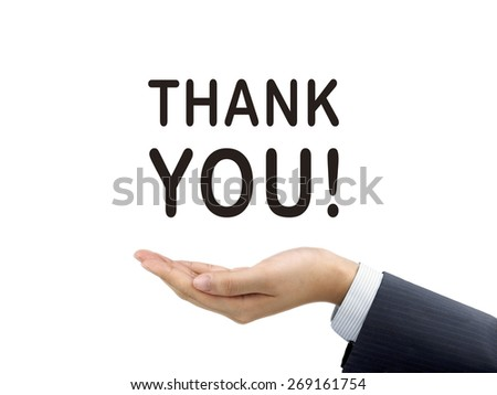 thank you words holding by businessman's hand over white background - stock photo