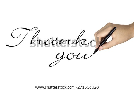 thank you words written by human hand over white  - stock photo