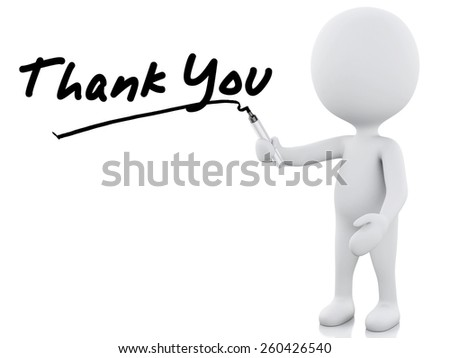 thank you words written by white people. 3d image. Isolated white background - stock photo