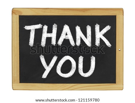 Thank You written on a blackboard - stock photo