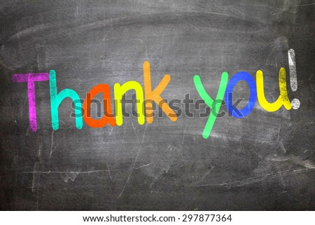 Thank You written on a chalkboard - stock photo