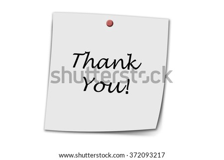 Thank you written on a memo isolated on white