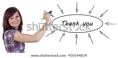 Thank you - young businesswoman drawing information concept on whiteboard.  - stock photo