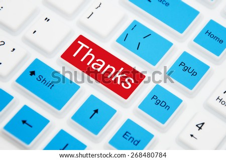 Thanks button on computer keyboard