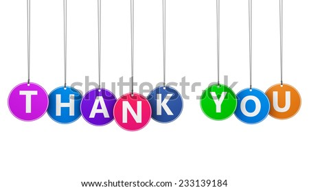 Thanks giving concept with thank you word and sign on colorful hanged tags isolated on white background. - stock photo
