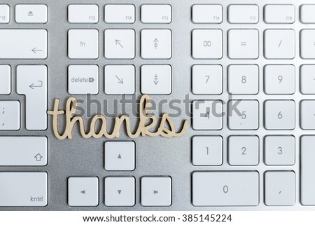 Thanks Message on Computer Keyboard