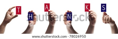 Thanks word made by male hands - stock photo