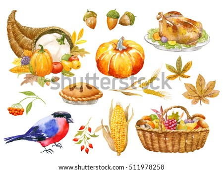 Thanksgiving Autumn clip art hand watercolor painted, isolated, clipping path included, quick isolation. Pumpkin, basket, vegetables, bird, pie.