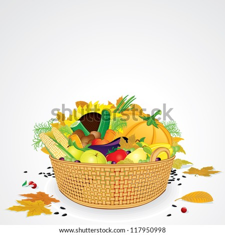 Thanksgiving Basket with Vegetables, Fruits and Leaves. Isolated on White Background - stock photo