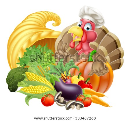 Thanksgiving cartoon turkey bird wearing a chef hat with cornucopia full of produce - stock photo
