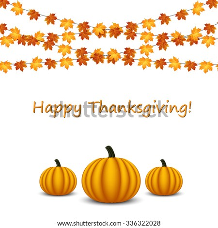 Thanksgiving celebration banner with maple leaf on a white background