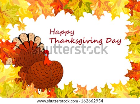 Thanksgiving Day background with maple leaves - stock photo