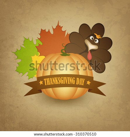 Thanksgiving Day Background With Turkey, Pumpink, Leafs And Title Inscription - stock photo