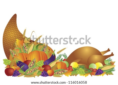 Thanksgiving Day Fall Harvest Cornucopia with Turkey Dinner Feast Pumpkins Fruits and Vegetables Raster Vector illustration - stock photo