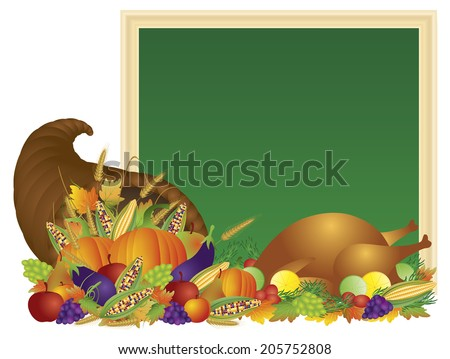 Thanksgiving Day Fall Harvest Cornucopia with Turkey Dinner Feast Pumpkins Fruits and Vegetables with Chalkboard Sign Raster Vector illustration - stock photo