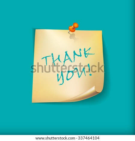 Thanksgiving Day Holiday Typographic Design.  Note paper with pin. Card or background.  Calligraphic Elements. - stock photo