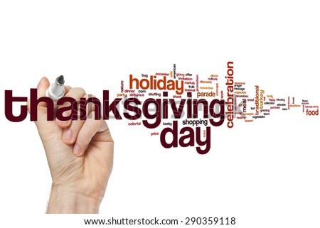 Thanksgiving day word cloud concept - stock photo