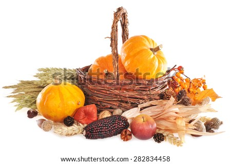 Thanksgiving - different pumpkins, berries, nuts and grain in rattan basket on white background with copy space