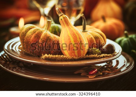 Thanksgiving dinner and autumn decoration. - stock photo