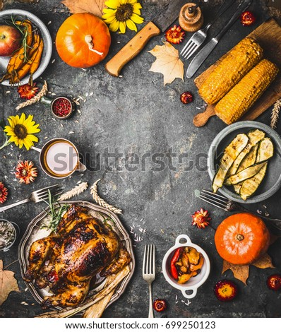 Thanksgiving Dinner Background With Roasted Turkey Sauce Pumpkin And Dishes Of Autumn Vegetables On
