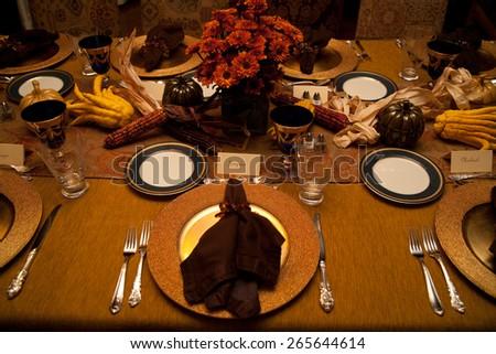 Thanksgiving dinner setting, Ojai, California  - stock photo