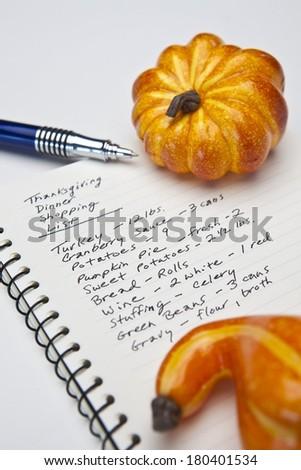 Thanksgiving Dinner Shopping List - stock photo