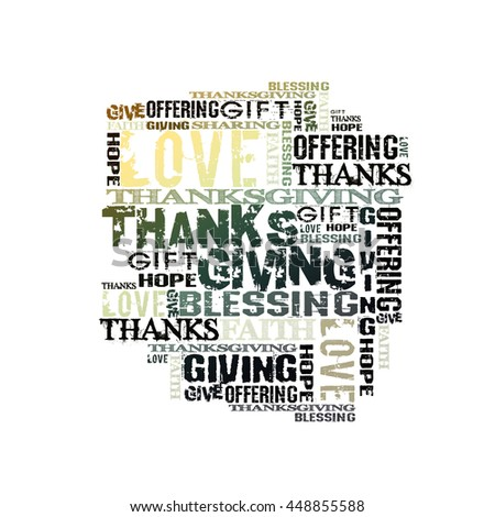 Thanksgiving Giving Offering Blessing Background  Words on white - stock photo