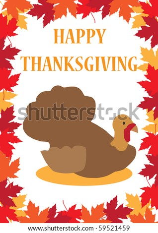 Thanksgiving greeting card with a turkey on a maple leafs background - raster version (vector available) - stock photo