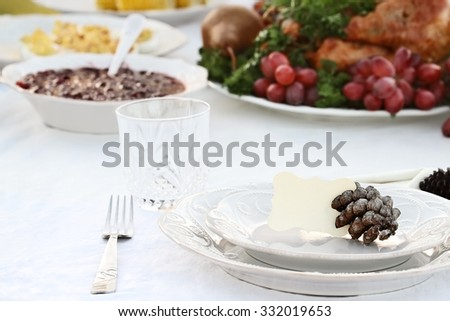 Thanksgiving Holiday table setting with cranberry sauce, deviled eggs and roast turkey in background. Blank note card placed on plate. Extreme shallow DOF with selective focus on center of plate.