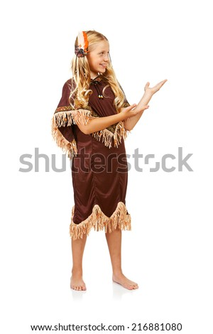 Thanksgiving: Indian Girl Gestures To Side - stock photo