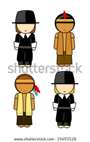 Thanksgiving Indians and Pilgrims men Illustration - stock photo