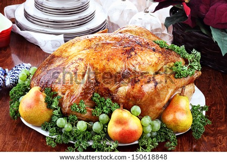 Thanksgiving or Christmas turkey dinner with fresh pears, grapes and parsley. Poinsettia flower arrangement, dishes and wine glasses in background. - stock photo