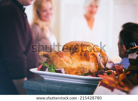 Thanksgiving: Roasted Holiday Turkey Sits And Cools Before Meal - stock photo