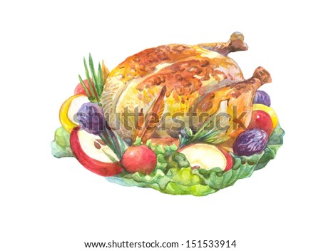 Thanksgiving roasted Turkey Garnished with  salad, apple, tomatoes,prunes, green onions,isolated on a white background Watercolor painting   - stock photo