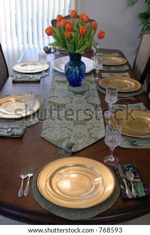 Thanksgiving table setting - stock photo
