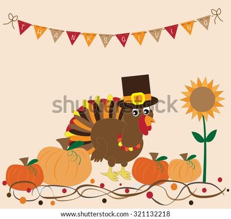 Thanksgiving Turkey and Pumpkins - stock photo