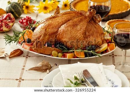 Thanksgiving Turkey dinner with pumpkin pie - stock photo
