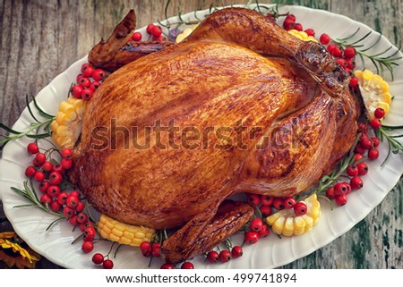 Thanksgiving Turkey table with copy space