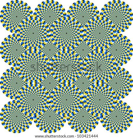 That is a fascinating optical illusion - the concentrical circles are moving somehow - stock photo