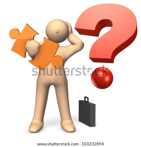 That man is holding his head in mystery. This is a computer generated image,on white background. - stock photo