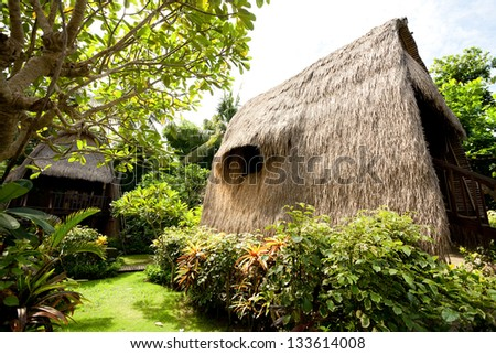 Thatch roof bungalow at tropical resort, Lembongan island, Indonesia - stock photo
