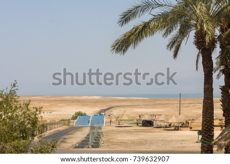 Thatch roof sheds on Dead Sea beach with road to water and palm trees before. Area of the reserve of Ein Gedi, Israel.