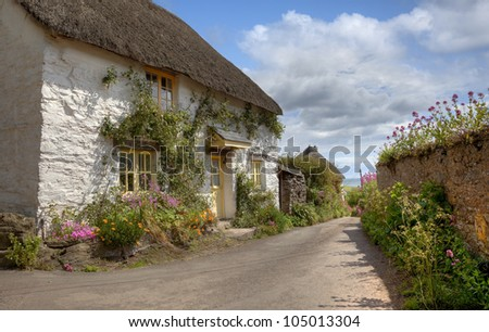 Thatched cottage with pretty flowers, Devon, England